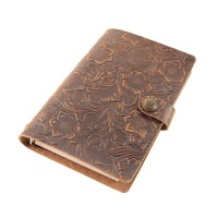A6 Vintage Genuine Leather Traveler Notebook Cowhide Diary Bind loose leaf notepad Spiral Binder Planner