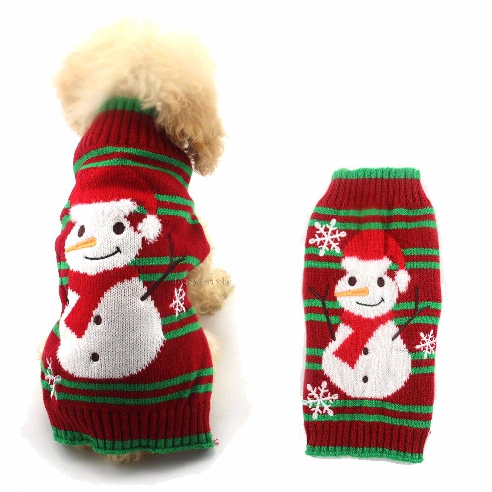 ⑧1 unids Navidad poliester perro suéter Navidad muñeco raya diseño ...