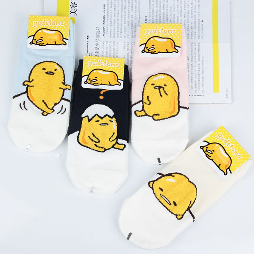 Cartoon Gudetama stitching pattern   socks   cute funny happy women   sock   spring summer comfortable breathable cotton ankle skarpetki