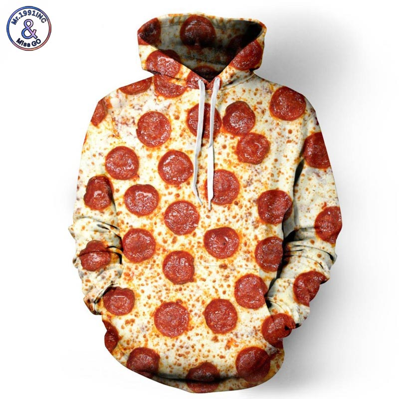 Mr.1991INC Nuova Moda Autunno Inverno Uomini/Donne Hoodies 3d Pieno Stampato Pizza Uomini Felpa Con Cappuccio Felpe Tute