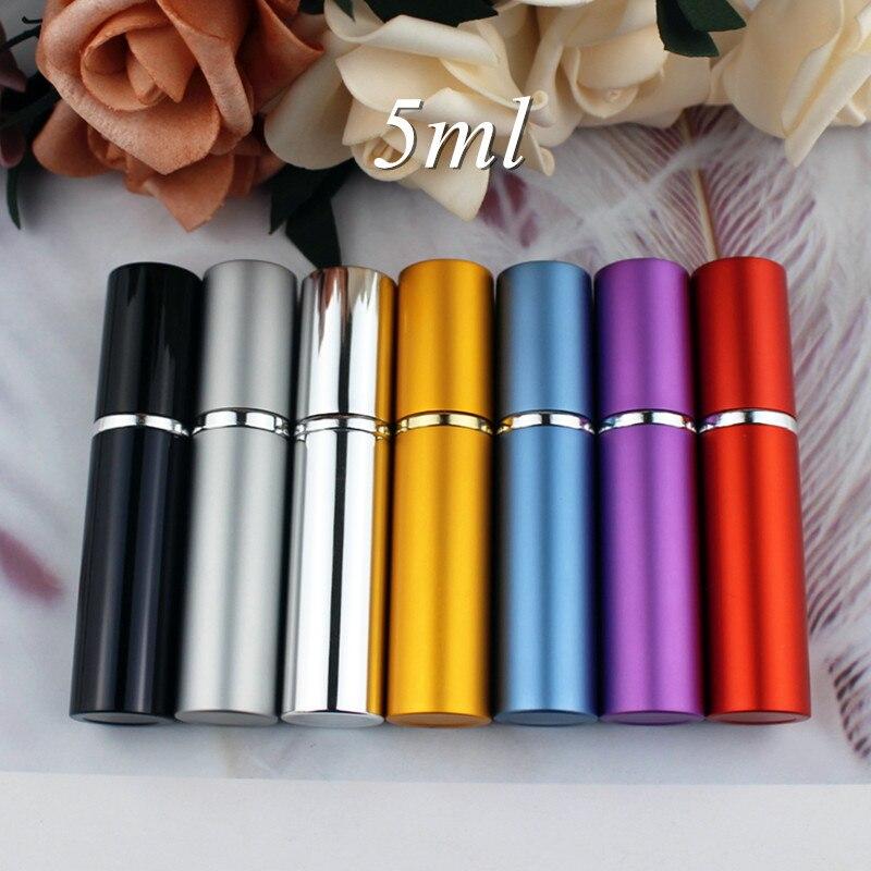 1PC 5ml 10ml Portable Mini Perfume Glass Bottle Travel Aluminum Spray Atomizer Empty Metal Parfume Atomiser Sprayer Easy Carry