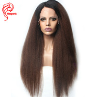 Hesperis Human Hair Lace Front Wigs Kinky Straight Lace Front Wigs Rmy Brazilian Hair Ombre Lace Wigs With Baby Hair Pre Plucked