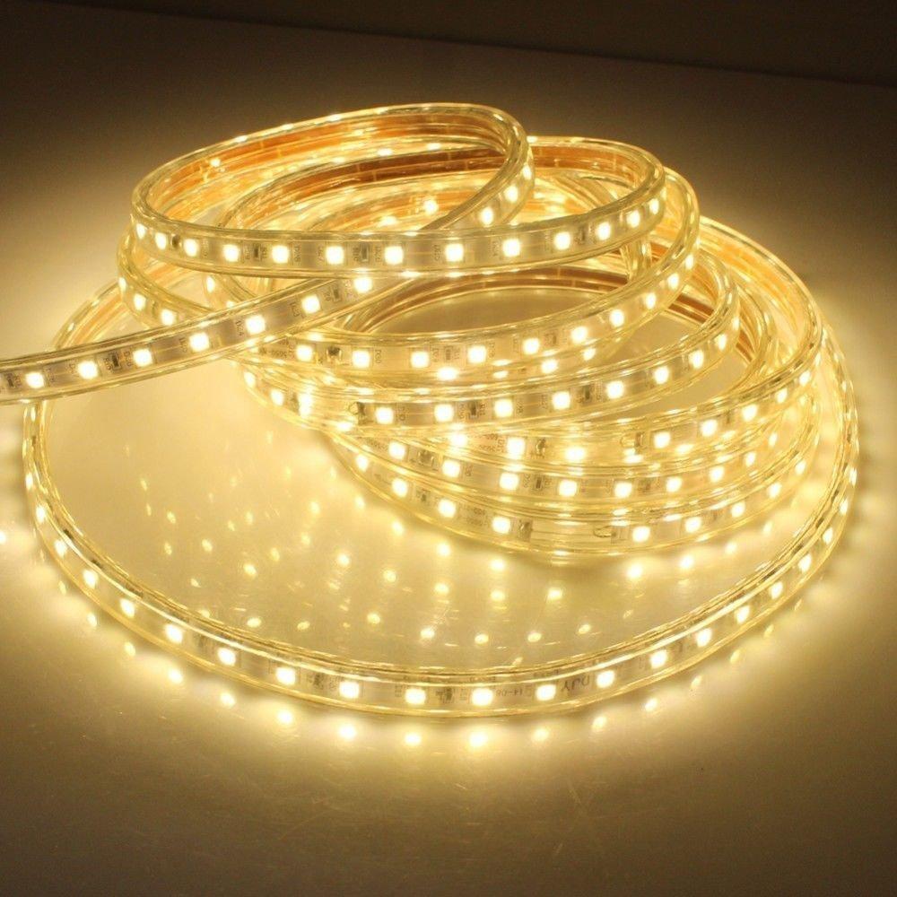 SMD 5050 AC220V bande LED blanche chaude Flexible lumière 60 LED/m LED étanche bande lumière LED avec prise de courant 50 M
