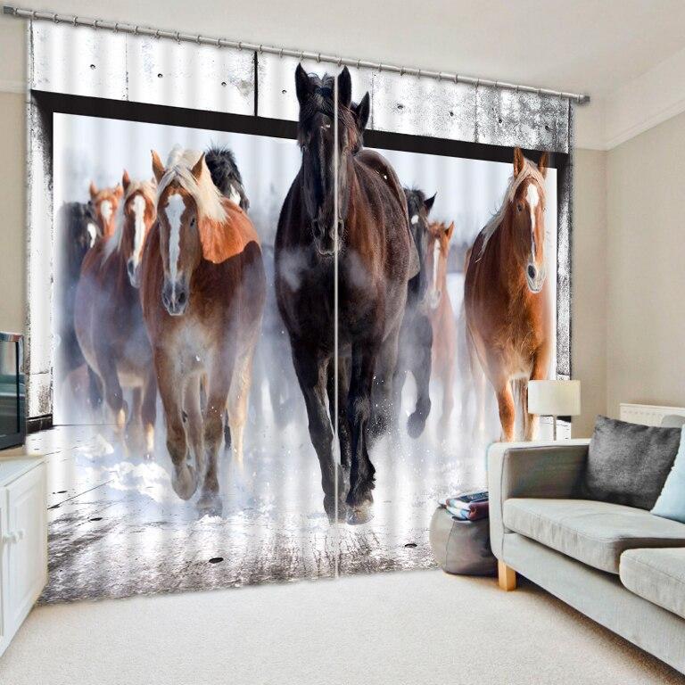 Haute qualité personnalisé moderne de haute qualité personnaliser taille moderne cheval animaux rideaux pour salon