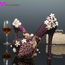 Handmade Purple Rhoenix Rhinestone Womens Modeling Event Shoes New Arrived Flower Crystal Wedding Shoes Bridal Crystal Shoes