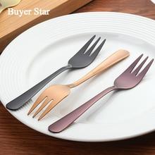 12 Pcs/Lot Luxury Gold Cake Forks Stainless Steel Salad Fork Thick Cutlery Set Fruit Fork Salad Dessert Fork