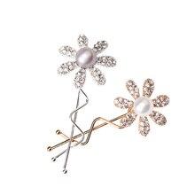 M MISM Women Wedding Hair Jewelry Big Pearl Rhinestone Flower Hair Clips Hairpins Hair Accessories for Girls Wave Barrettes