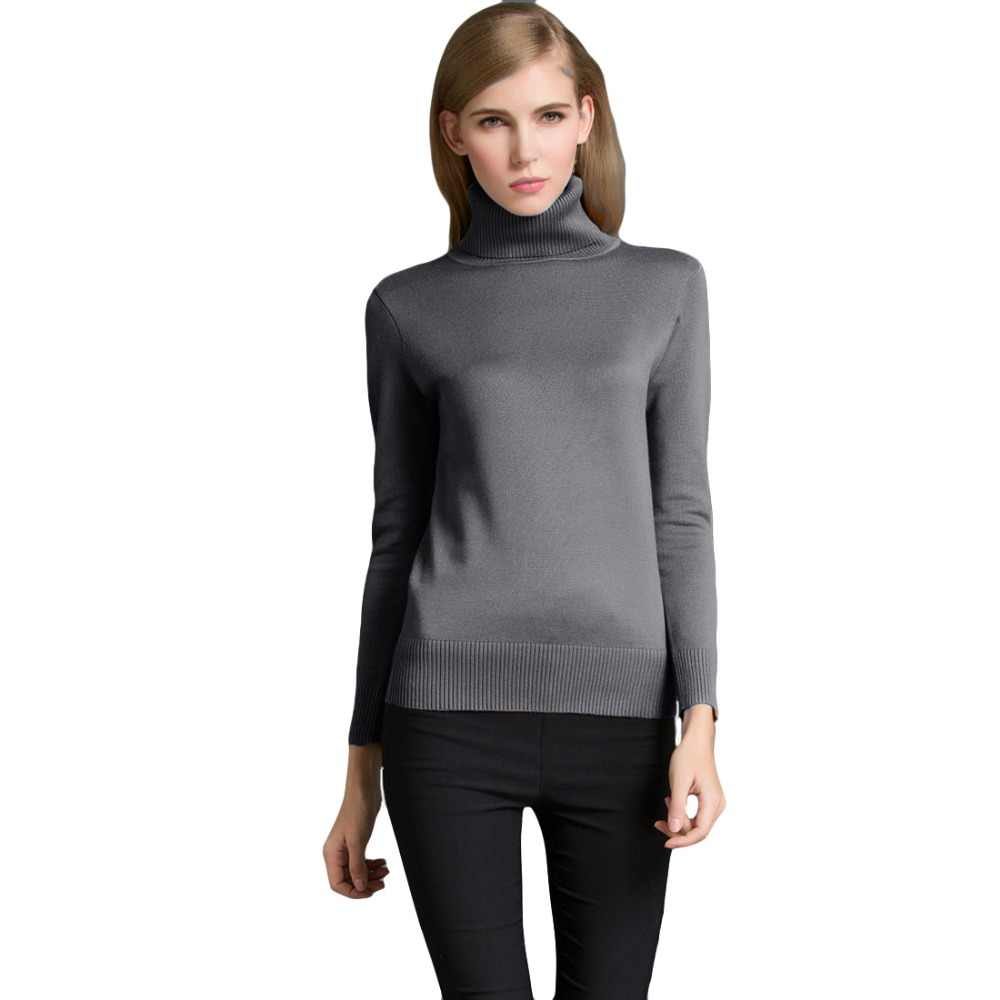 47bf6af91f ... 2019 Autumn Winter Women Pullovers Sweater Casual Jumpers Fashion Slim Turtleneck  Warm Sweaters Long Sleeves Ribbed ...
