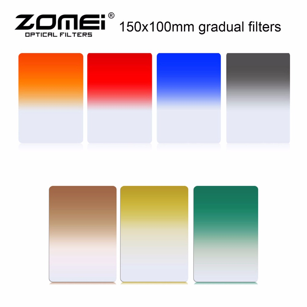 7 in 1 Zomei 150mm x 100mm Graduated Square Filters 7 colors for Cokin Z zomei Hitech 4X6 Holder