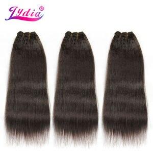 Image 5 - Lydia dla kobiet Kinky prosto fala 12 22 Cal syntetyczne falowanie włosów rozszerzenia czysty kolor #4 wiązki włosów 110 g/paczka