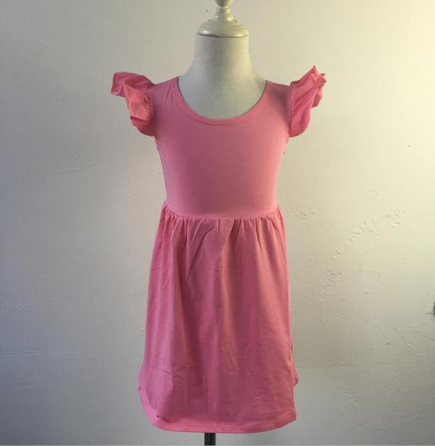 New design half circle flutter Sleeves dress ruffle cotton kids Frock best  choice for a party 10216683c