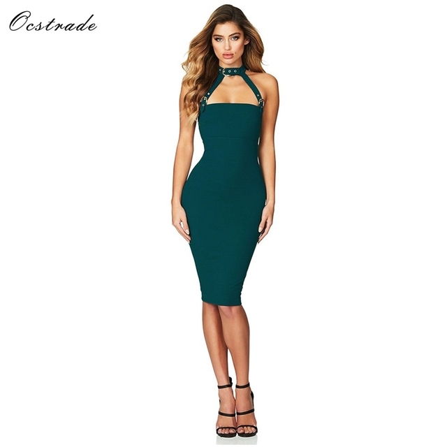 cc7472f4d3 Ocstrade Sexy Bodycon Dress Women Night Party 2018 New Arrivals Red Black  Elastic Rayon Bandage Dress High Quality HL