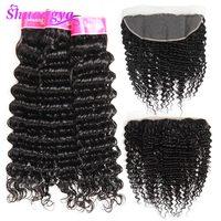 Lace Frontal Closure With Bundles Malaysian Deep Wave 100% Human Hair Bundles With Frontal Shuangya Virgin Hair Weave Bundles