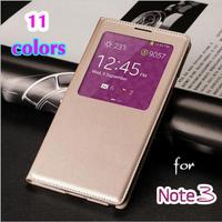 Smart View Auto Sleep Function Back With Chip Leather Flip Cover Holster Case For Samsung Galaxy