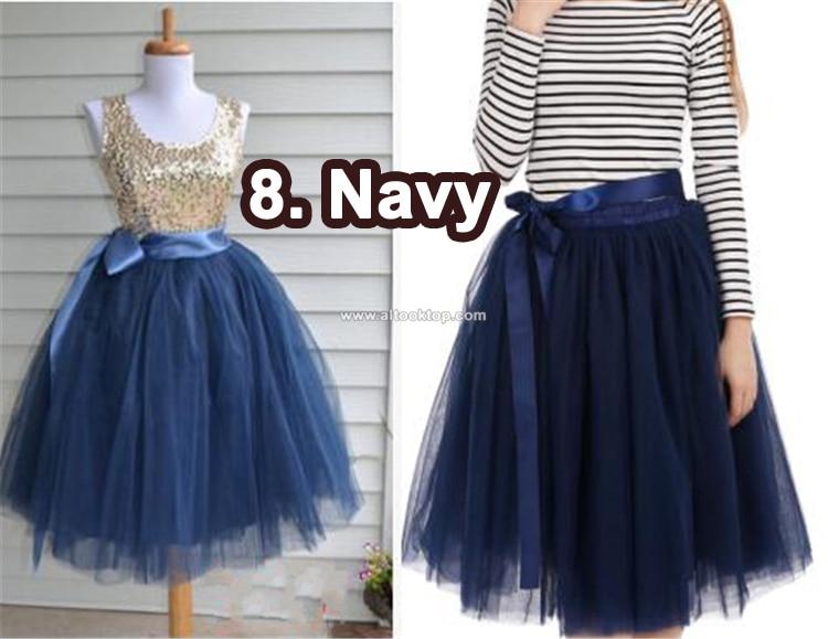 Fashion 7 Layers Midi Tulle Skirt Adult Vintage American -2095