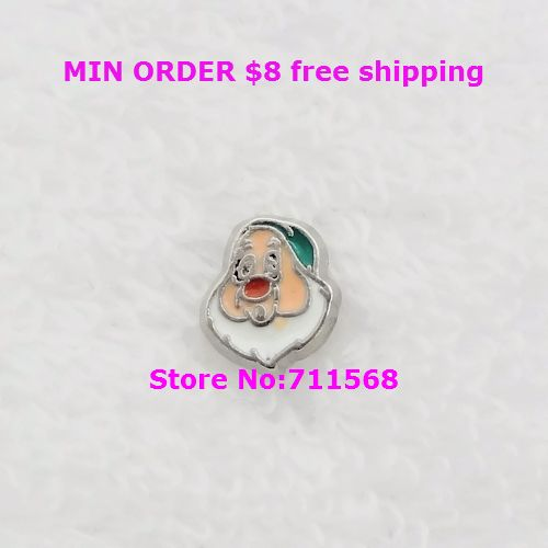 Discreet Sleepy Dwarf Floating Charm Snow White Locket Charm For Living Glass Magnetic Locket Accessories