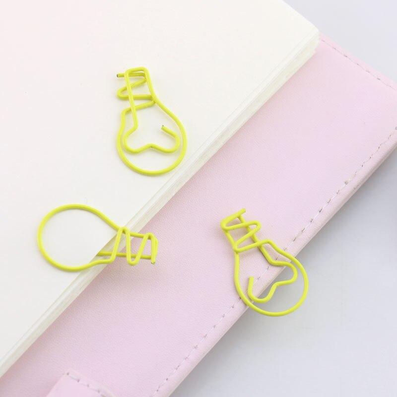 20pcs/lot Bulb Shape Paper Clips Creative Interesting Bookmark Clip Memo Clip Shaped Paper Clips For Office School Home H0145
