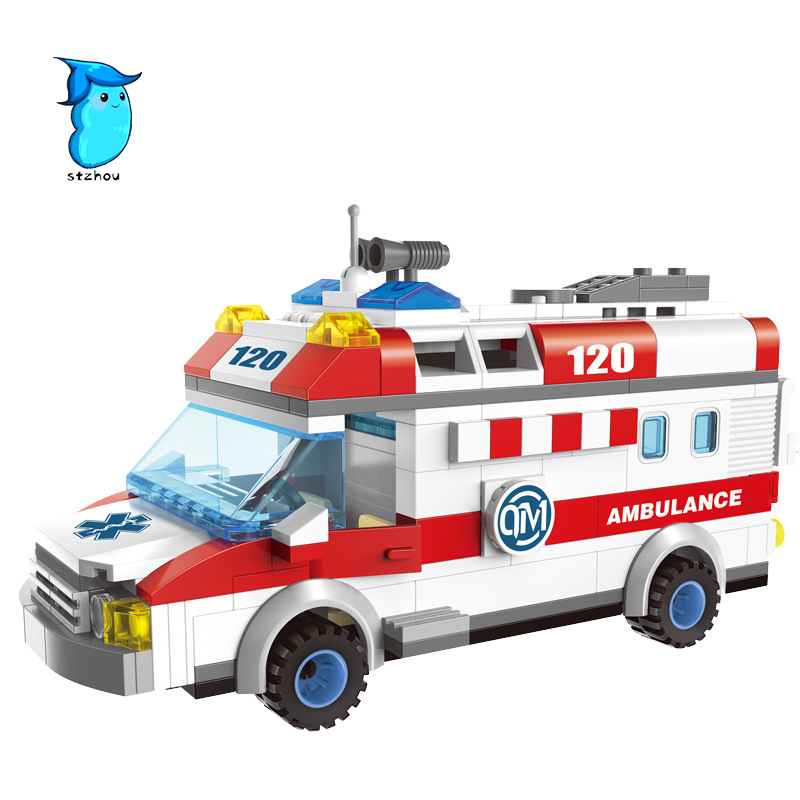 StZhou Building Blocks Ambulance Model Blocks 328pcs DIY Bricks Car Styling Building Blocks Playmobil Toys For Children