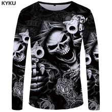 KYKU Brand Skull Long sleeve T shirt Gun Tops Tees Punk Tshirt Gothic Clothing  shirts T-shirts Women Rock Funny Fitness