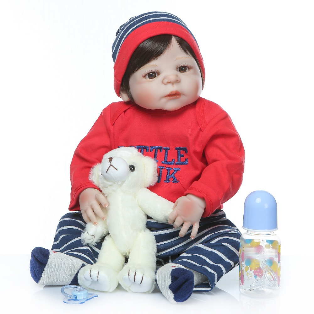 NPK New Arrival Reborn Baby Dolls 23Inch Fashion Full Silicone Vinyl Bebes Reborn Realistic Princess Baby
