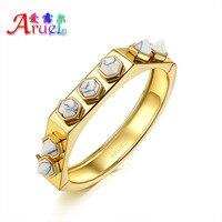 Real 18k Dubai Gold Plated Jewelry Bangle White Turquoise Stone Punk Bracelet For Women Fashion Indian