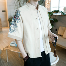 2017 Limited Real Linen Half Solid Wind Original Large Code Men s Dragon Embroidery Wide Sleeved