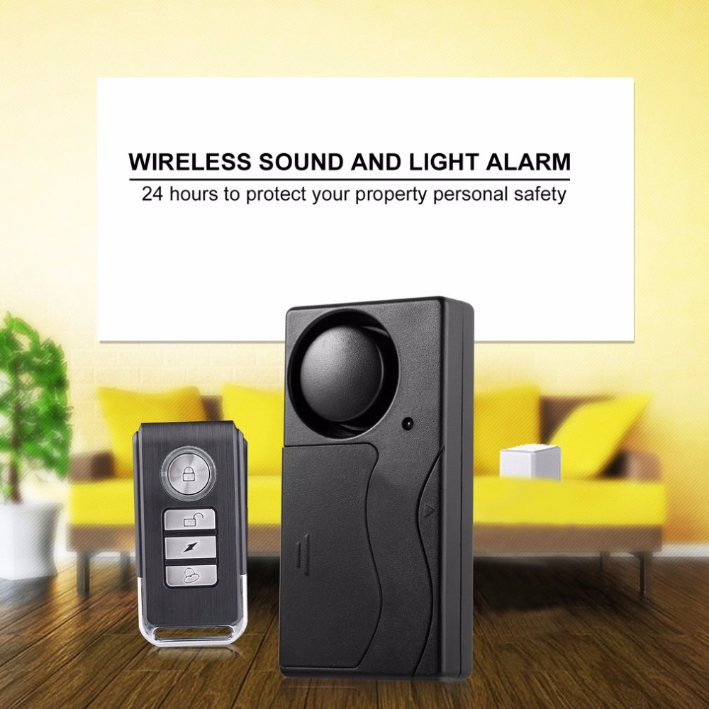 Remote Control Wireless Vibration Alarm Bike Motorcycle Security Door Window Detector Anti-Burglar Theft Alarm System 105dB wireless remote control vibration alarm detector