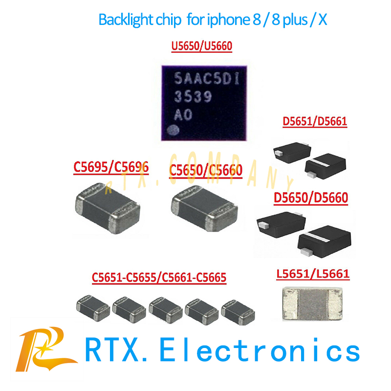 5set(55pcs) Backlight solutions Kit chip for IPhone 8 8Plus X backlight IC U5650/U5660+Coil+Diode+Capacitor mobile phone repair