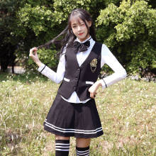 British College Wind Uniform Set Korea Uniform Sailor Uniform Korean High School Student Class Wear Navy Suit Autumn