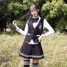 British College Wind Uniform Set Korea Uniform Sailor Uniform Korean High School Student Class Wear Navy Suit Autumn