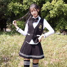 72a451a25ff British College Wind Uniform Set Korea Uniform Sailor Uniform Korean High  School Student Class Wear Navy