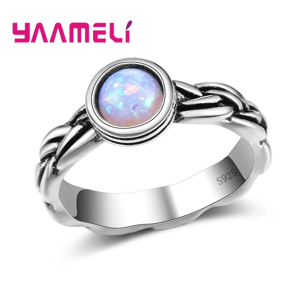 YAAMELI Mystery Beautiful Color Opal Fashion 925 Sterling Silver Simple Style Finger Rings For Women Ladies Accessories Present