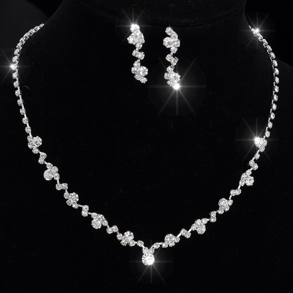 2018 Fashion Rhinestone Jewelry Sets Necklace earrings set Elegant Shinning Jewelry Set for Wedding Bride Party Necklace
