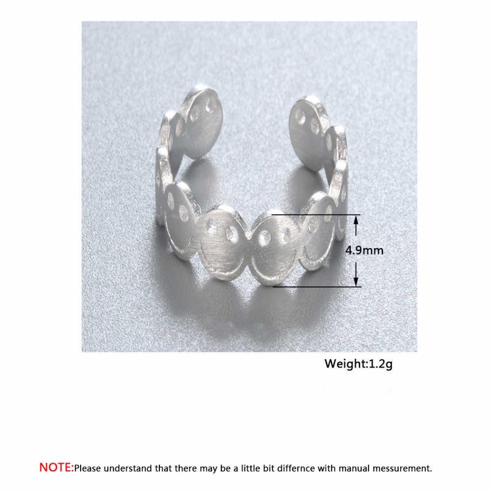 Cxwind แฟชั่น Emoji Smile ออกแบบ Happy แหวนชุดสำหรับหญิงสาวการ์ตูนเคลือบ Smile Bell Dangle แหวนเครื่องประดับ