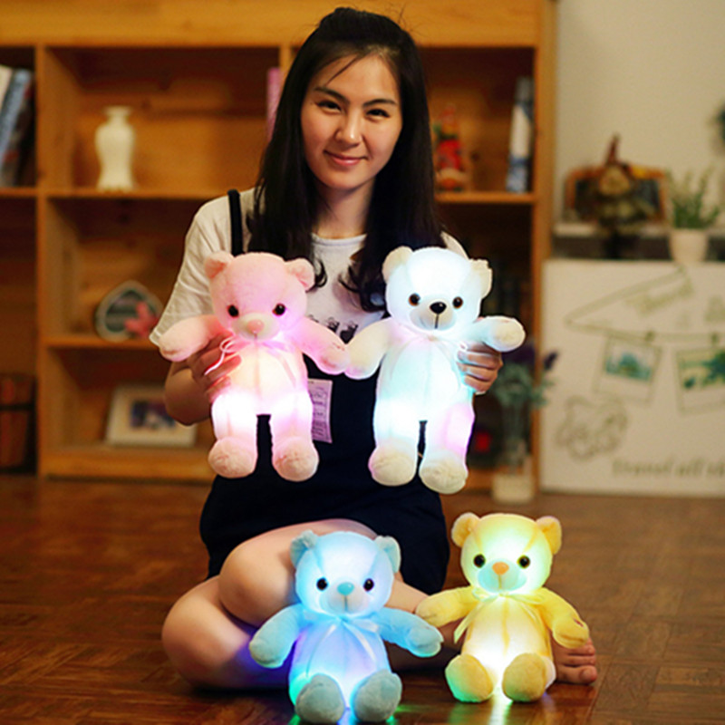 32cm Cute Plush Led Light Luminous Bear Stuffed Colorful Plush Toys Birthday Gift Kids Gifts cute animal soft stuffed plush toys purple bear soft plush toy birthday gift large bear stuffed dolls valentine day gift 70c0074