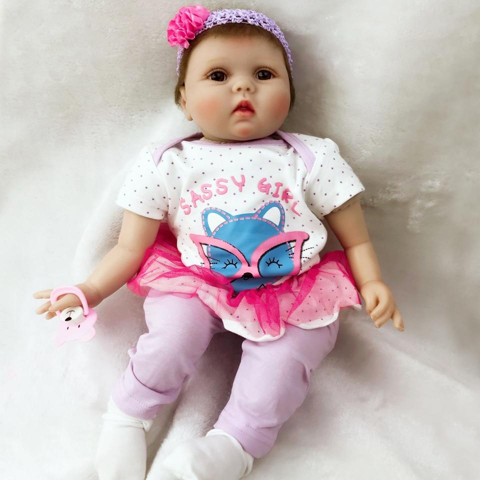 New Lovely Reborn Dolls Babies 22'' For Girl XMAS Gifts Realistic Silicone Vinyl Newborn Dolls 55 cm Cloth Body bebe Brinquedos цена 2017