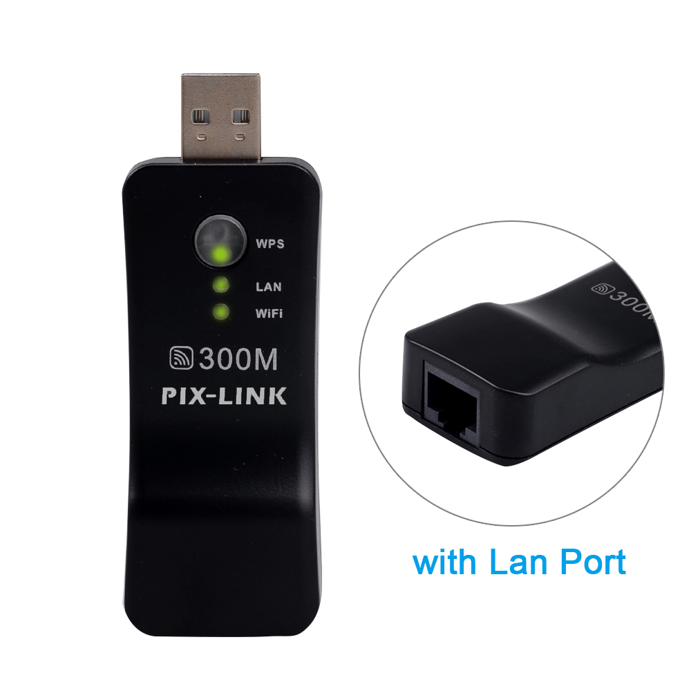 Wireless USB Universal 300Mbps Wifi Adapter RJ-45 Port Ethernet network Bridge Repeater Client for New Smart TV 1
