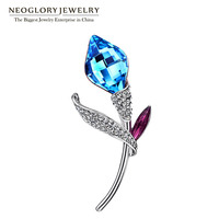 Neoglory Auden Rhinestone Austria Flower Crystal Brooches for Women Charm Jewelry Accessories BR1 QC 2018