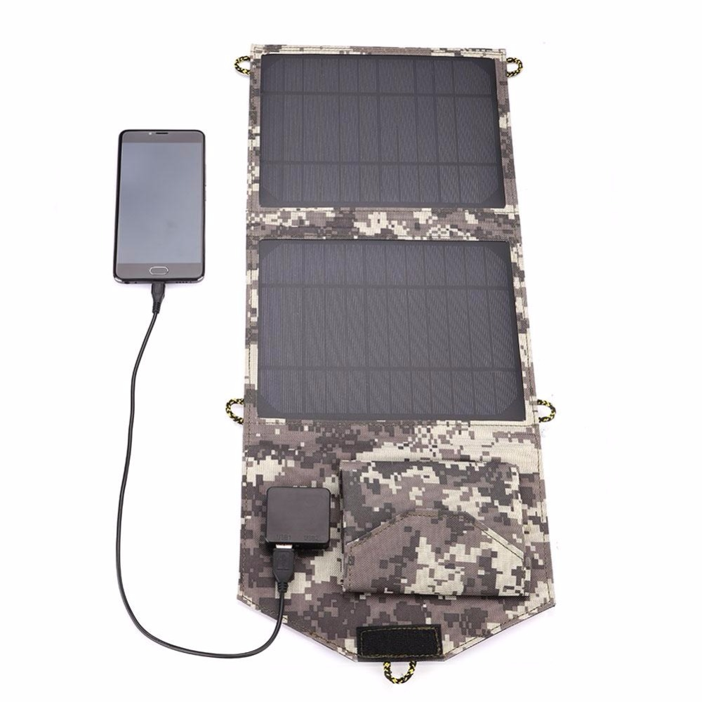 Portable Outdoor 5V 10W Folding Solar Panel Travel Camouflage Battery Charger Dual USB Outdoor camping  tool soa 011 portable 5v dual usb folding 10w solar powered panel camouflage