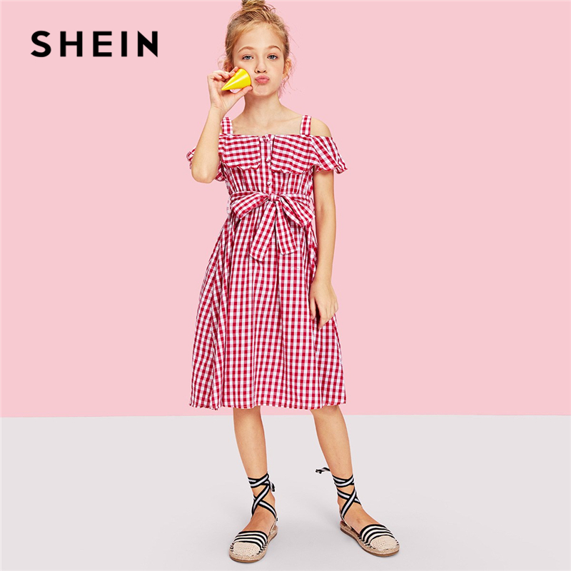 SHEIN Burgundy Girls Flounce Cold Shoulder Gingham Dress With Belt Girls Clothing 2019 Spring Ruffle Flared A Line Girls Dresses high low flounce hem floral dress with cami