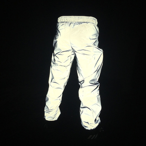 Image 5 - Autumn men casual reflective pants hip hop joggers women full reflective hiphop dance trousers night club pants stage costume