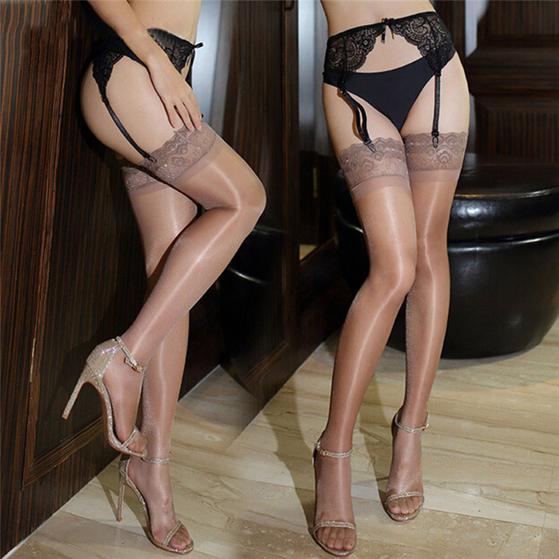 High Quality Best Selling Sexy Lingerie Women New Knitted Thin Tights Sexy Oil Shiny Stocking Sexy Thigh-Highs Body Stockings