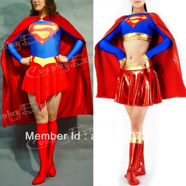 Free Shipping DHL Wholesale Adult Superhero Supergirl Halloween Costume Lycra Spandex Bodysuit font b Women b