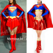 Free Shipping DHL Wholesale Adult Superhero Supergirl Halloween Costume Lycra Spandex Bodysuit Women Costume Dropship SBC026