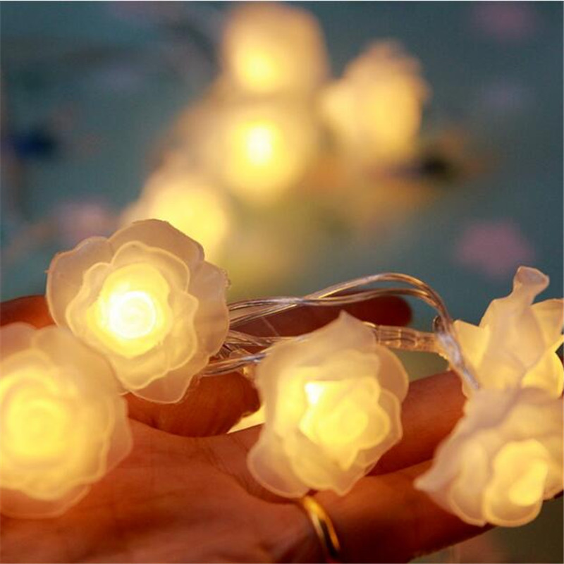 Battery Powered 20LED Rose Flower Wedding Valentie Day Garden Birthday Event Party Christmas Decoration Xmas String Fairy Light