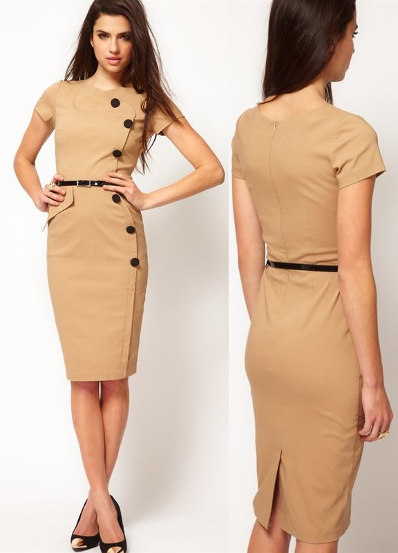 free shipping fashion dress bottom front pencil dresses office lad orange beige