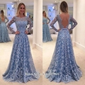 Blue Long Sleeve Lace Prom Dress 2017 Vestido De Festa Sexy Open Back Long Formal Dresses Evening Party Gown