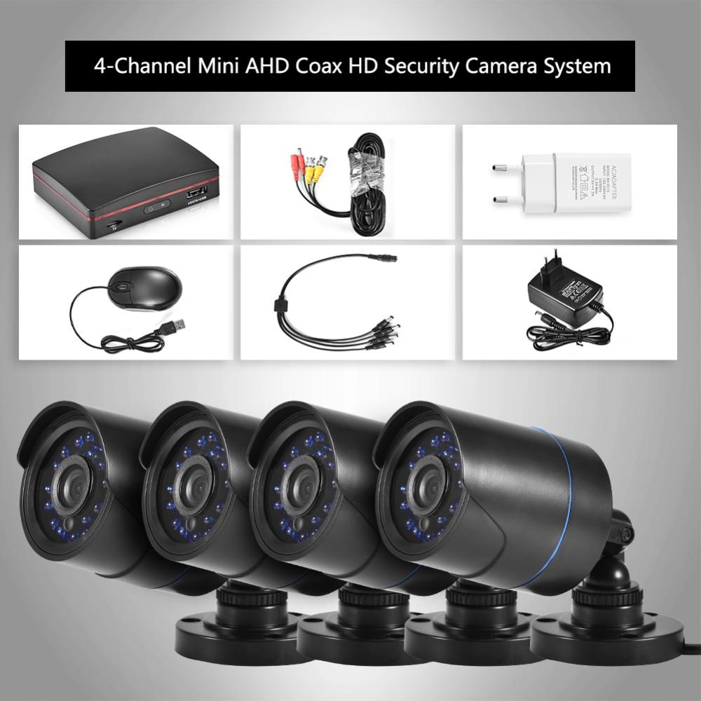 Security Surveillance Camera System 4CH DVR Video Recorder 1080N AHD HD 720P IR Night Vision IP66 Motion Detection Waterproof hbss 4ch 1 0m hd 2tb hdd poe ip66 waterproof motion detection 1280 720p ir night vision outdoor mult lang surveillance system