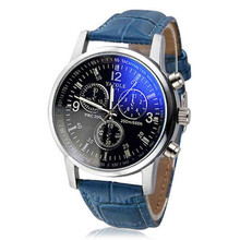 Fashion Men's Watch Faux Leather Wristwatches Relojes Hour Blue Ray Glass Quartz Men's Watches Brand Luxury Casual Watches Clock