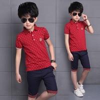 4 14Year Fashion Children Boys Clothing Sets Teenage Summer 100% Cotton T shirt+Pants 2Pcs Boy Gentleman Suit Children 2018 New